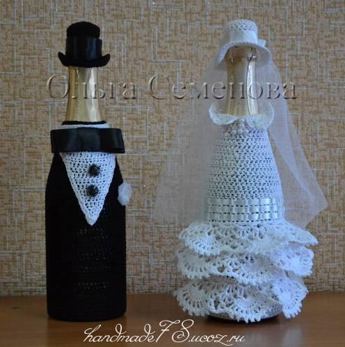 Вязание украшений на бутылку 23