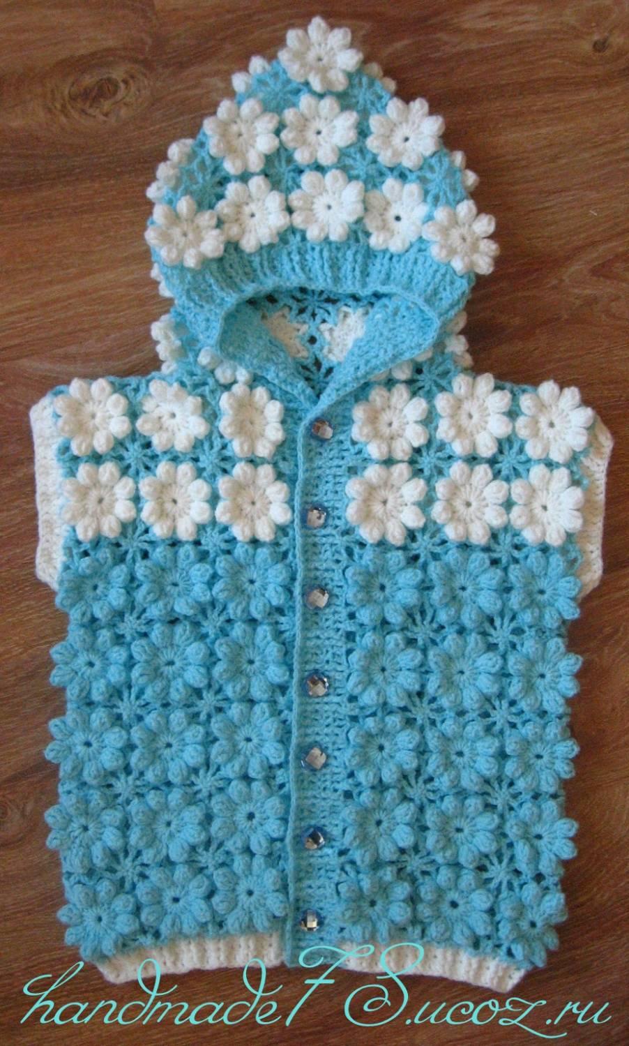 Безотрывное вязание крючком жилетка для девочки