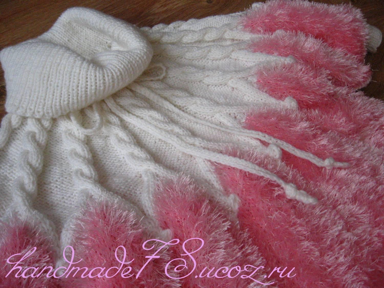 ер крупной вязки спицами, тье и ер спицами.  Описание: Вязаный свитер-пончо для девочки.