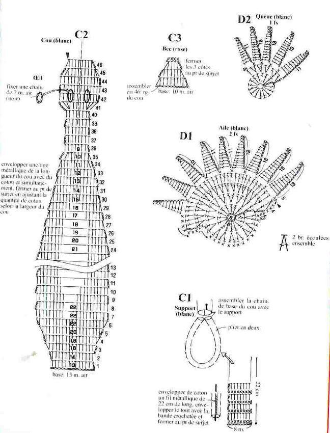 вязание крючком павлин схема